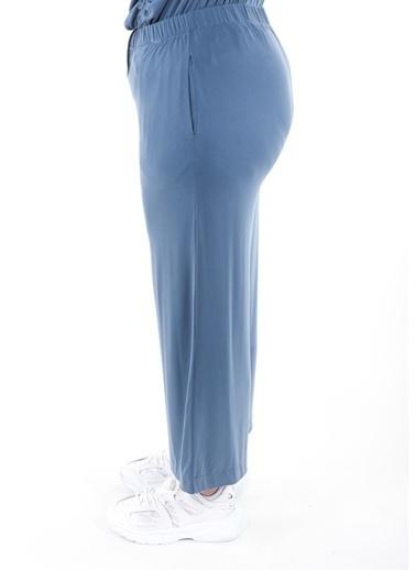 Luokk Anna1 Beli Lastikli  Bol Kesim Dökümlü Kadın Pantolon Mavi Mavi